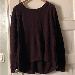 Plum sweater with buttons down the back